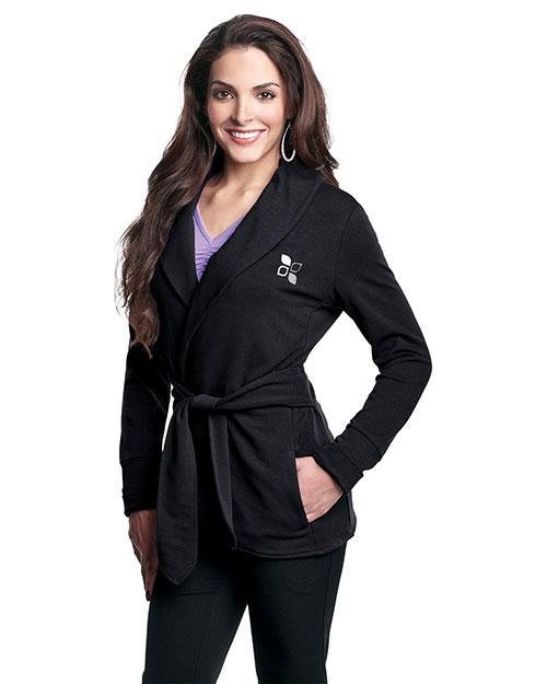 Tri-Mountain LB673 Women 57% Ctn/38% Poly/5% Spandex Knit Robe Jacket With Faux Belt Black at bigntallapparel