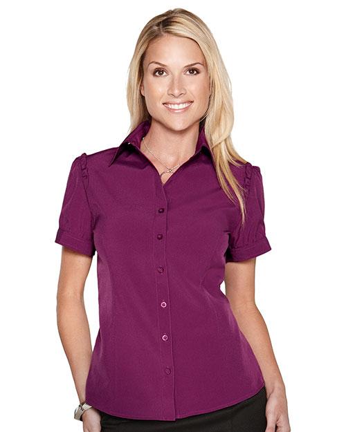 Tri-Mountain LB752 Women Short Sleeve Shirt W/Ruffle At Shouder Along Arm Concord at bigntallapparel
