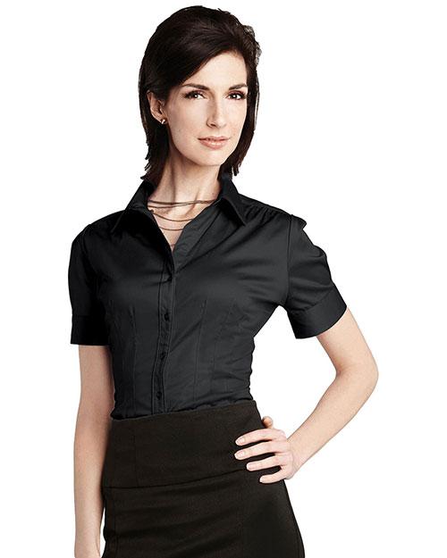 Tri-Mountain LB755 Women 96% Cotton 4% Spandex Solid Satin Woven Shirts Black at bigntallapparel