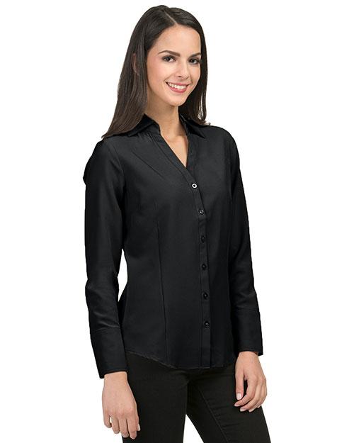 Tri-Mountain LB757 Women 96% Polyester 4% Spandex Woven Shirts Black at bigntallapparel