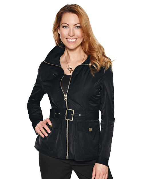 Tri-Mountain LB8123 Women 100% Polyester Woven Water Repellent Jacket With Quilted Lining Black at bigntallapparel