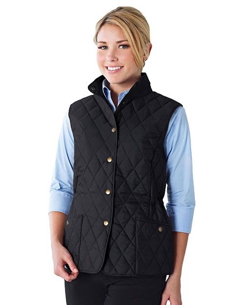 Tri-Mountain LB8221 Women 95% Polyester 5% Nylon Woven Poly-Filled Quilted W/R Jacket Black at bigntallapparel