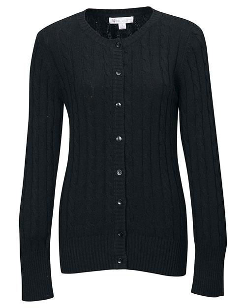 Tri-Mountain LB923 Women 100% Cotton Long Sleeves Cable Sweater Cardigan Black at bigntallapparel