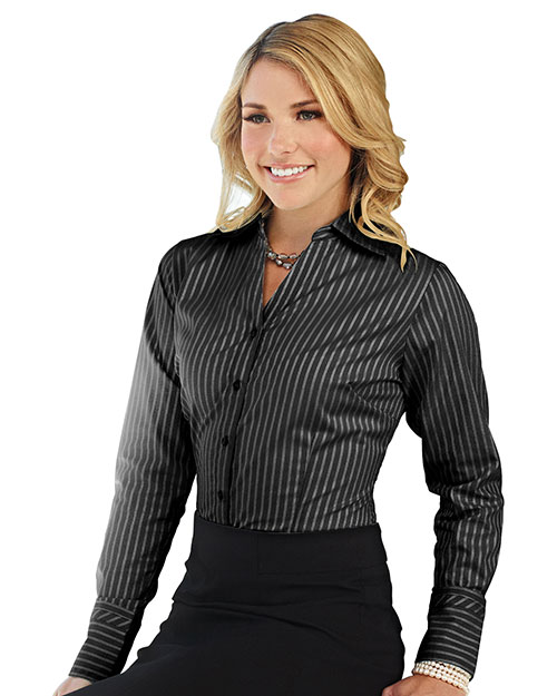 Tri-Mountain LB970 Women 100% Cotton Y/D Woven Shirts Black at bigntallapparel