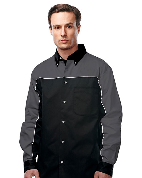 Tri-Mountain W908LS  60% Cotton 40% Polyester Twill Woven Long Sleeve Shirt Charcoal at bigntallapparel