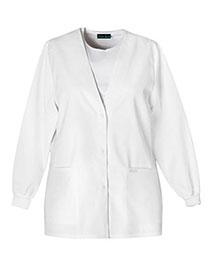 Cherokee 1301 Women Cherooke   Button Front Warmup Jacket at bigntallapparel