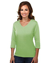 Tri-Mountain 131 Women Cotton Interlock 3/4 Sleeve V-Neck Knit