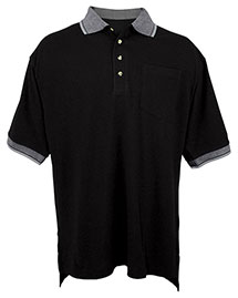 Tri-Mountain 197 Men Big And Tall Pique Pocketed Polo Golf Shirt With Jacquard Trim at bigntallapparel