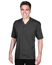 Blue Generation BG3100 Men Short Sleeve Solid Campshirt 65/35 Poly/ Cotton  -  Black 2 Extra Large Solid