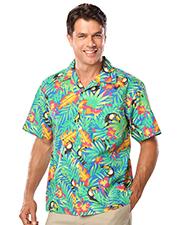 Blue Generation BG3101 Men Tropical Print Campshirt  -  Tucan Print 2 Extra Large Print at bigntallapparel