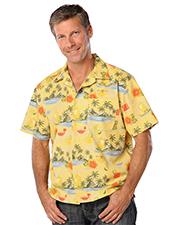 Blue Generation BG3104 Men Tropical Print Campshirt  -  Cocktail Print Large Print