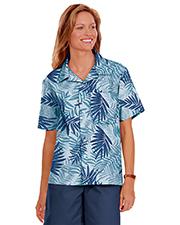 Blue Generation BG3107 Women Short Sleeve Tonal Campshirt 65/35 Poly/ Cotton  -  Blue 2 Extra Large Print