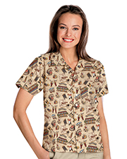 Blue Generation BG3108 Women Tropical Print Campshirt  -  Bistro 2 Extra Large Print