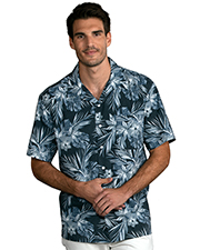 Blue Generation BG3109 Men Tropical Print Campshirt Indigo Breeze 2 Extra Large Print at bigntallapparel