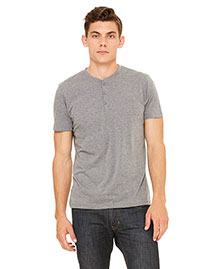 Bella 3125 Men Triblend Short-Sleeve Henley at bigntallapparel