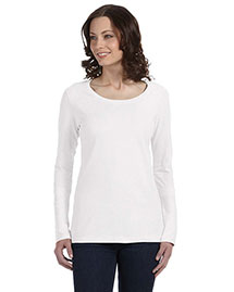 Anvil 399 Women Sheer Long-Sleeve Scoop Neck T-Shirt at bigntallapparel