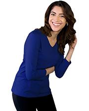 Blue Generation BG4703 Women Ladies 3/4 Sleeve V-Neck  -  Royal 4 Extra Large Solid