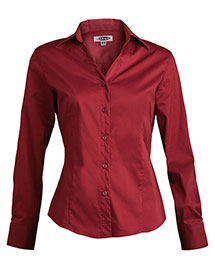 Edwards 5034 Women Long Sleeve V-Neck Tailored Stretch Blouse at bigntallapparel