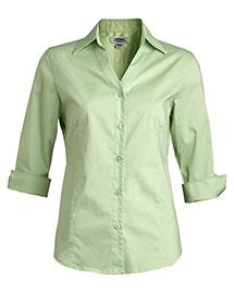 Edwards 5045 Women V-Neck Tailored Stretch Broadcloth Blouse 3/4 Sleeve