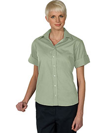 Edwards 5245 Women Open Neck Poplin Short Sleeve Blouse
