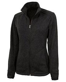 Charles River Apparel 5493 Women Heathered Fleece Sweater Jacket at bigntallapparel