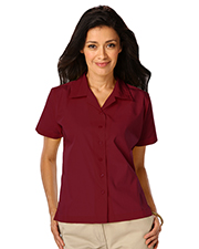 Blue Generation BG6100 Women Ladies Short Sleeve Solid Campshirt 65/35 Poly/ Cotton  -  Burgundy Large Solid