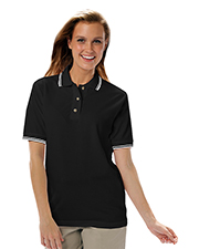 Blue Generation BG6205 Women Ladies Short Sleeve Tipped Collar & Cuff Piques  -  Black 2 Extra Large Tipped White