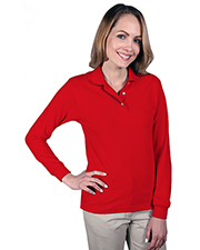 Blue Generation BG6207 Women Ladies Long Sleeve Superblend Pique  -  Red Small Solid