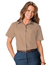 Blue Generation BG6210S Women Ladies S/S Light Weight Poplin Shirt  -  Tan Extra Large Solid