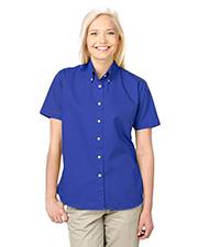 Blue Generation BG6213S Women Ladies Short Sleeve 100% Cotton Twill  -  Royal Extra Large Solid