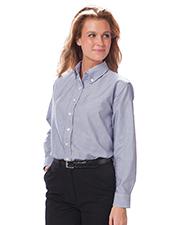 Blue Generation BG6214 Women Ladies Long Sleeve Oxford  -  Stripe 3 Extra Large Solid at bigntallapparel