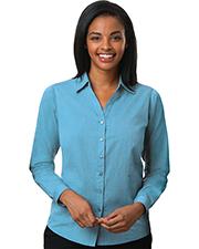 Blue Generation BG6215 Women Ladies Cross-Weave Long Sleeve Shirt Aqua 2 Extra Large Solid at bigntallapparel