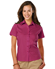 Blue Generation BG6218S Women Ladies Easy Care Stretch Ss Poplin  -  Berry 2 Extra Large Solid
