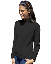 Blue Generation BG6230 Women Ladies Wicking Solid 1/4 Zip Ls Pullover  -  Black 2 Extra Large Solid