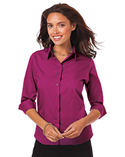 Blue Generation BG6260 Women Ladies 3/4 Sleeve Easy Care Poplin With Matching Buttons  -  Berry 2 Extra Large Solid