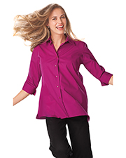 Blue Generation BG6261 Women Ladies 3/4 Sleeve Easy Care Poplin Swing Blouse/Matching Buttons   -  Berry 2 Extra Large Solid