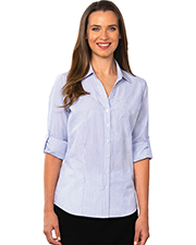 Blue Generation BG6272 Women Ladies Long Sleeve Untucked Stripe  No Pocket Blue 2 Extra Large Stripe