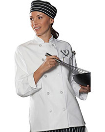 Edwards 6301 Women Casual 10 Button Chef Coat at bigntallapparel