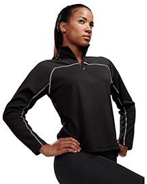 Tri-Mountain 636 Women 100% Polyester Jaquard Uc 1/4 Zip Ls Knit Pullover Shirt at bigntallapparel