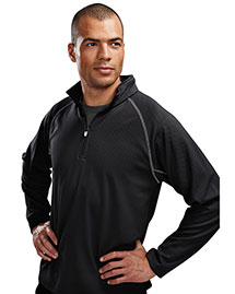 Tri-Mountain 638 Men 100% Polyester Jaquard 1/4 Zip Ls Knit Pullover Shirt