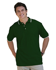 Blue Generation BG7205 Men Short Sleeve Tipped Collar & Cuff Pique -  Hunter 6 Extra Large Tipped Ivory