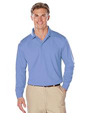 Blue Generation BG7225 Men Adult Long Sleeve Snag Resistant Moisture Wicking Polo  -  Light Blue Large Solid