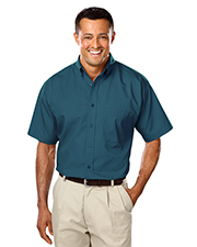 Blue Generation BG7266S Men Short Sleeve Easy Care Poplin With Matching Button -  Teal 5 Extra Large Solid