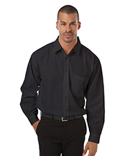 Blue Generation BG7267 Men Long Sleeve Poplin Bistro Shirt  -  Black 2 Extra Large Solid