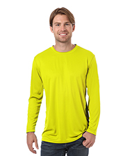 Blue Generation BG7303 Men Adult Value Long Sleeve Wicking Tee  -  Optic Yellow Extra Small Solid