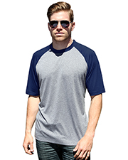 Blue Generation BG7305 Men Adult Color Block Wicking T  -  Navy 2 Extra Large Solid