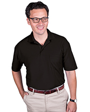 Blue Generation BG7501 Men Adult Soft Touch Pocketed Polo  -  Black 2 Extra Large Solid