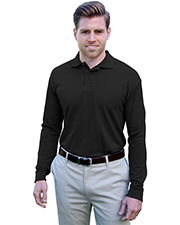 Blue Generation BG7502 Men Adult Soft Touch Long Sleeve Polo  -  Black 2 Extra Large Solid