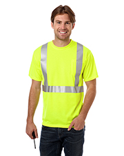 Blue Generation BG7511 Men Adult High Vis/Reflective Tape Wicking Tee  -  Optic Yellow 2 Extra Large Solid at bigntallapparel