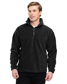 Tri-Mountain 7550 Men Big And Tall 1/4 Zip Panda Fleece Jacket With Trim at bigntallapparel